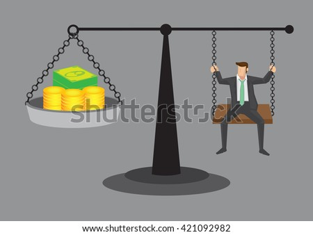 Cartoon man sitting on weighing scale with money. Vector cartoon illustration on balancing between, work and life concept isolated on grey background. - stock vector