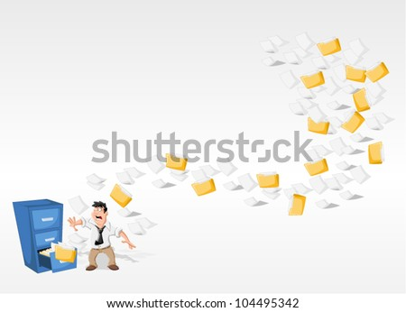 Cartoon man surprised by papers and folders flying from cabinet files - stock vector
