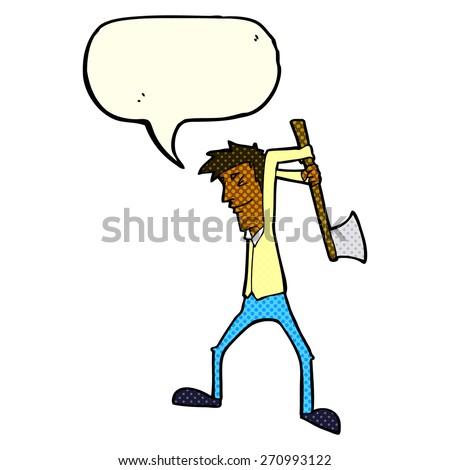 cartoon man swinging axe with speech bubble - stock vector