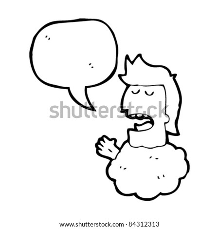 cartoon man talking with head in clouds