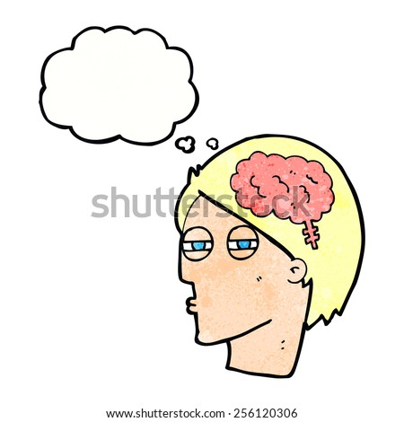 cartoon man thinking carefully with thought bubble - stock vector