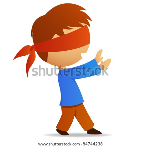 Cartoon man walk with blindfold on face. Vector illustration. - stock vector