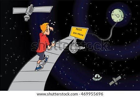 Cartoon man walking to the moon on a path through space