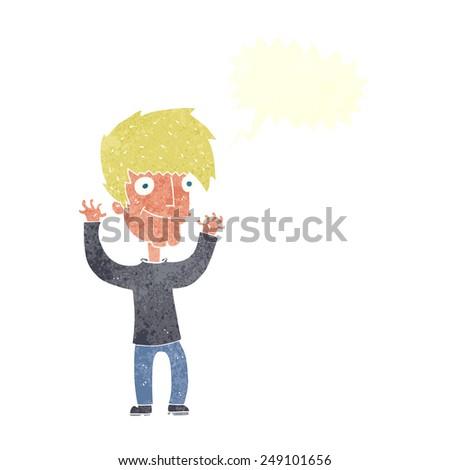 cartoon man waving arms with speech bubble - stock vector