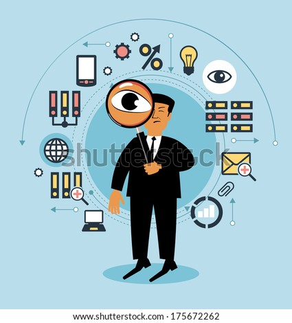 Cartoon man with a magnifying glass and business icons. People examines something . Man searching, Business concept   - stock vector