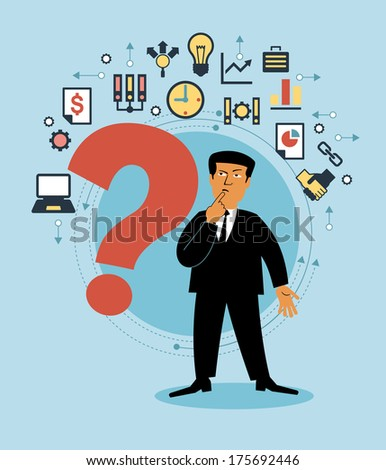 Cartoon man with a Question-mark and business icons. Business concept - stock vector