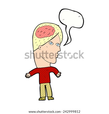 cartoon man with brain symbol with speech bubble - stock vector