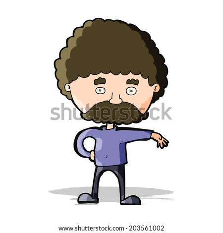 cartoon man with mustache making camp gesture - stock vector