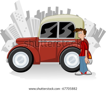 Cartoon man with old red car and city on the background - stock vector