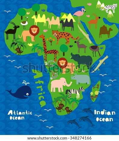 cartoon map of Africa with wild animals - stock vector