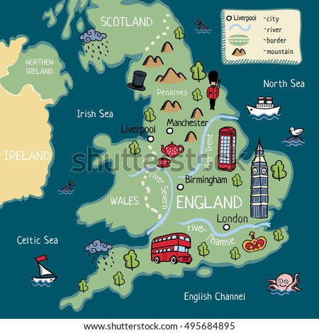 Cartoon Map England Stock Vector Shutterstock - Map of england