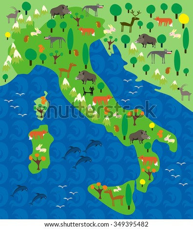 cartoon map of Italy with animals