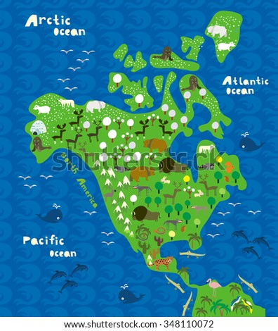 cartoon map of north america with animals - stock vector