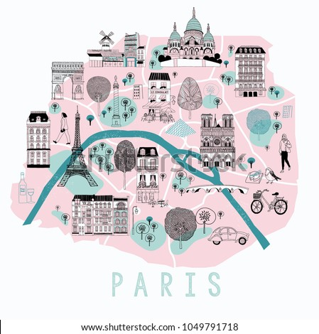 cartoon map of paris with legend icons print design