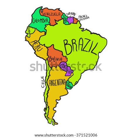 Cartoon Map South America Stock Vector Shutterstock - Map of south america