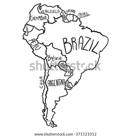 Cartoon map of South America - stock vector
