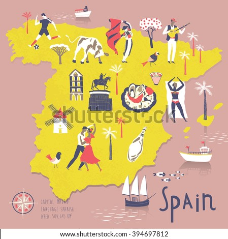 Cartoon Map of Spain with Legend Icons - stock vector