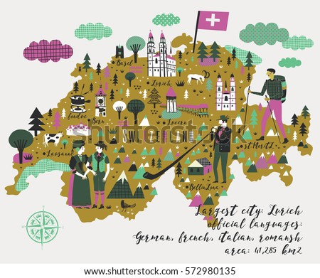 Cartoon Map Switzerland Legend Icons Stock Vector HD Royalty Free