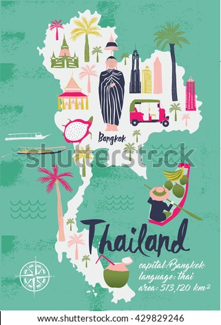 Cartoon Map of Thailand. Print Design - stock vector