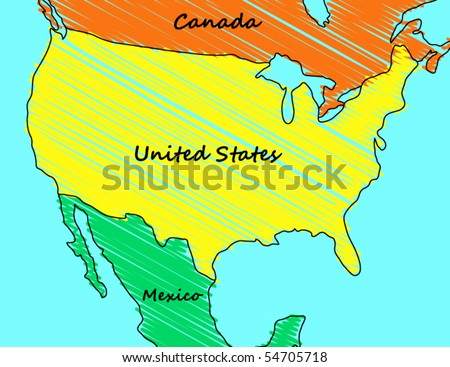 Cartoon Map of the United States - stock vector
