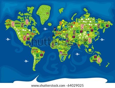 cartoon map of the world - stock vector