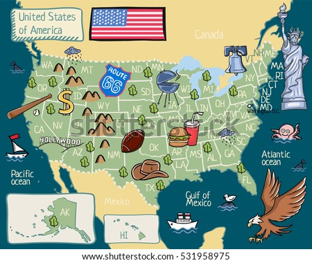 Cartoon Map United States America Stock Vector - Map the united states of america