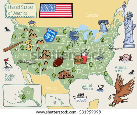 Cartoon Map United States America Stock Vector - The map of united states of america