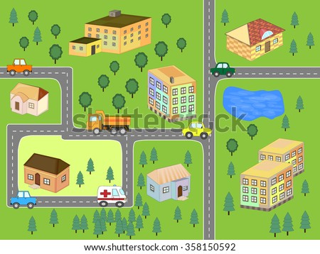 Cartoon map seamless pattern. (roads, cars and houses) - stock vector