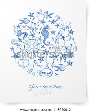 Cartoon marine background. Vector illustration. Card with sea dwellers. - stock vector