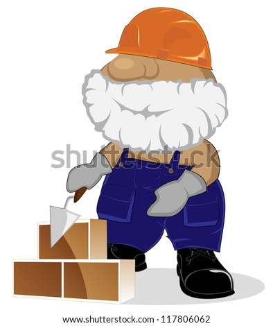 cartoon mason at working - stock vector