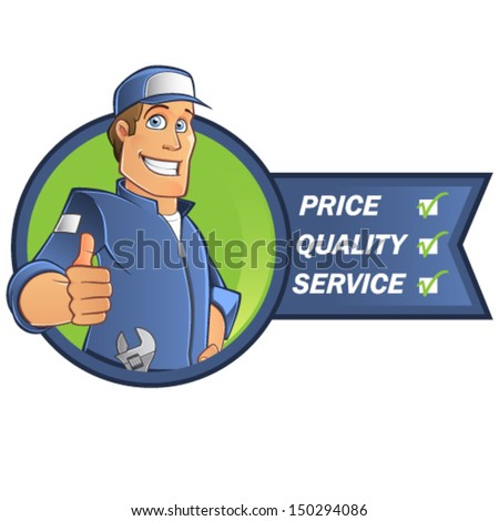 Cartoon mechanic - stock vector