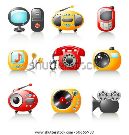 cartoon media home appliance - stock vector