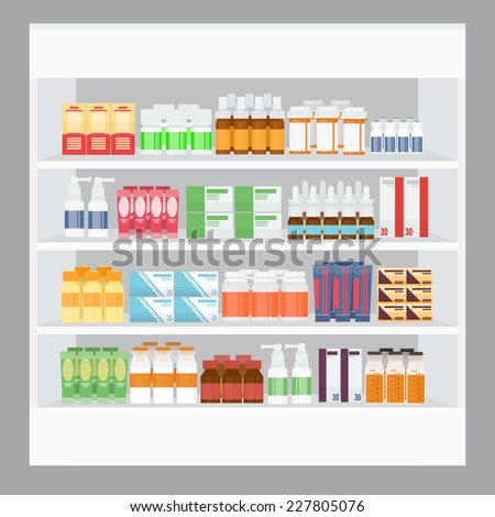 Cartoon Medicine For Sale Display in Rack Stand in Pharmacy - stock vector