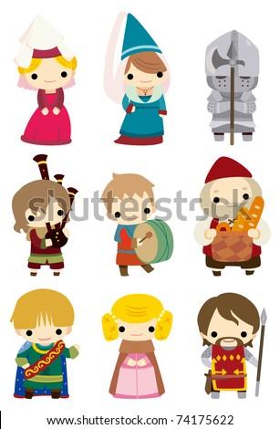 cartoon Medieval people icon - stock vector