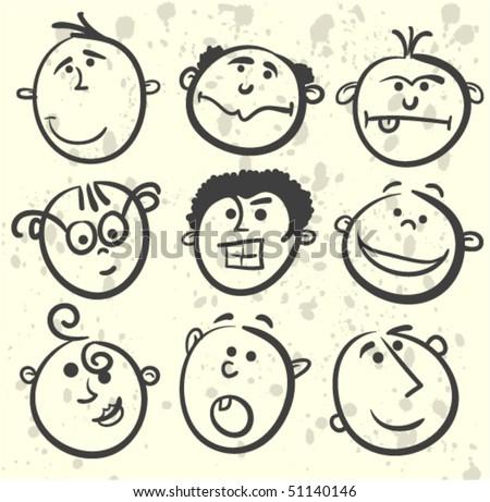 Cartoon men face - stock vector