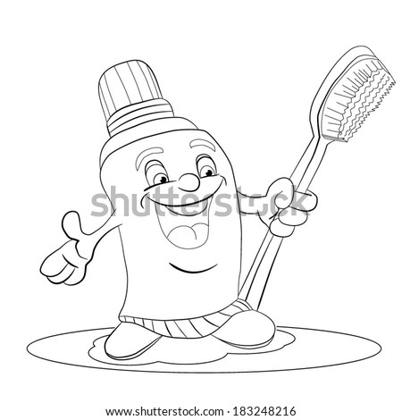 Cartoon merry tube of tooth-paste smiles and holds a tooth brush in a hand. Coloring book - stock vector