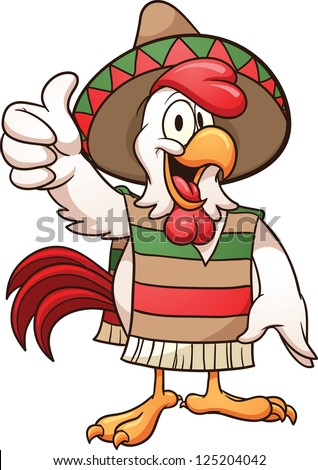 Cartoon mexican chicken. Vector clip art illustration with simple gradients. All in a single layer. - stock vector