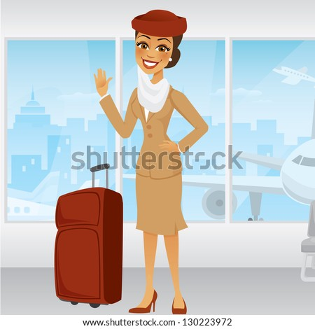 Cartoon Middle Eastern Flight Attendant waving in an airport with a suitcase - stock vector