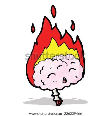 cartoon migraine brain - stock vector