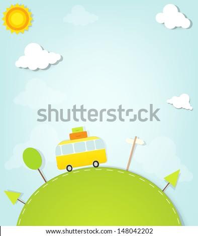 Cartoon minivan on the hill - stock vector