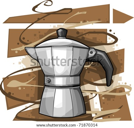 Cartoon Mocha on Abstract Brown and white background; vector illustration - stock vector
