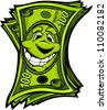 Cartoon Money Hundred Dollar Bills with Smiling Face Vector Cartoon Image - stock photo
