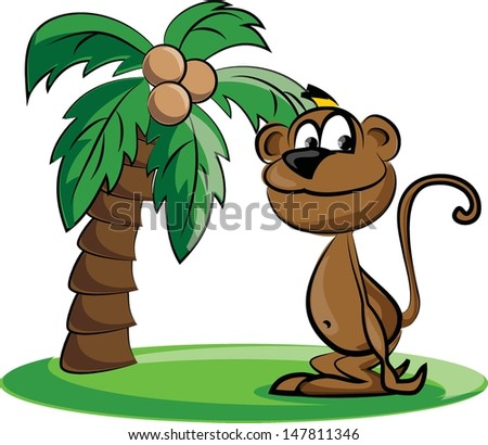 Cartoon monkey and a palm - vector