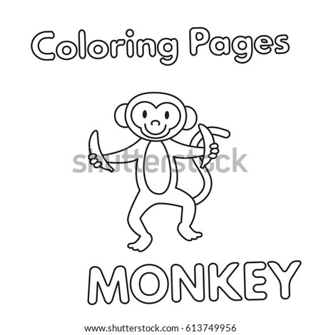 Cartoon Monkey Illustration Vector Coloring Book Pages For Children
