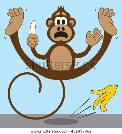Cartoon Clipart Of A Black And White Scared Baboon Monkey ... |Scared Monkey Animation