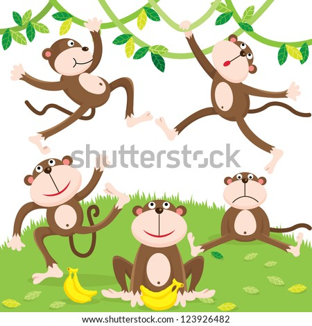 Cartoon monkey set