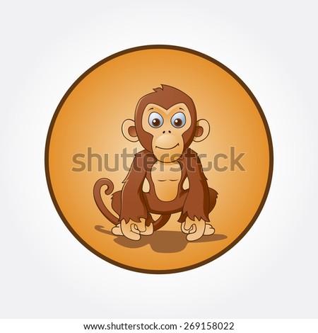 Cartoon monkey sitting, vector cartoon illustration - stock vector