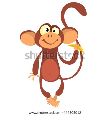 Cartoon monkey vector illustration. Cute primate monkey holding banana.Zoo chimpanzee monkey flat vector character. Monkey icon