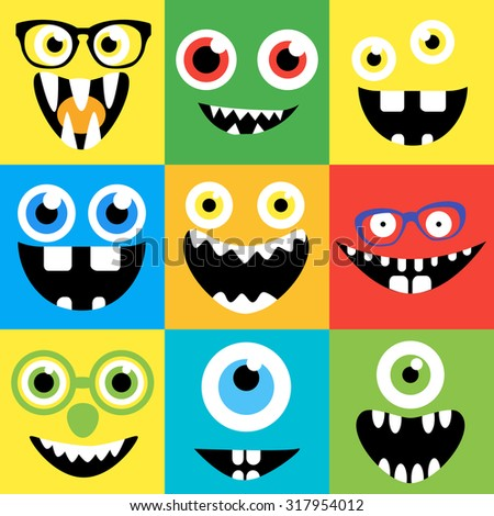 Cartoon monster faces set. Smiles, eyes, eyeglasses. Cute square avatars and icons.