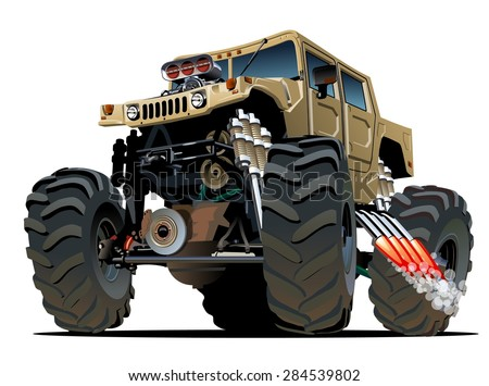 Cartoon Monster Truck. Available EPS-10 vector formats separated by groups and layers with transparency effects for one-click repaint - stock vector